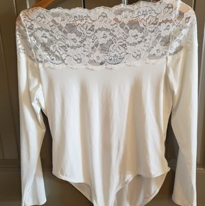 White Lace Off The Shoulder Bodysuit